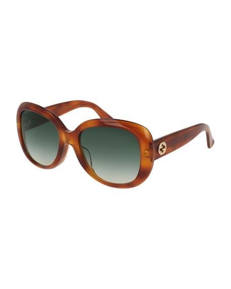Gucci Sunglasses UNIVERSAL-FIT ACETATE BUTTERFLY SUNGLASSES, BROWN HAVANA