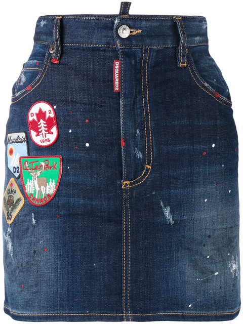 Dsquared2 Denims Patch applique denim mini skirt