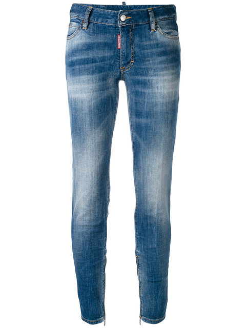 Dsquared2 Cottons DSQUARED2 TWIGGY MID-RISE SKINNY JEANS - BLUE