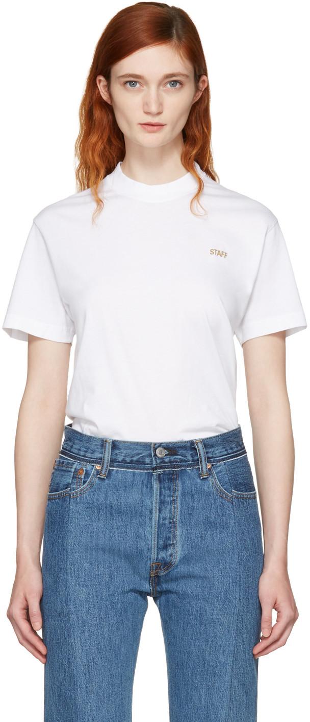 Vetements Cottons White Basic 'Staff' T-Shirt