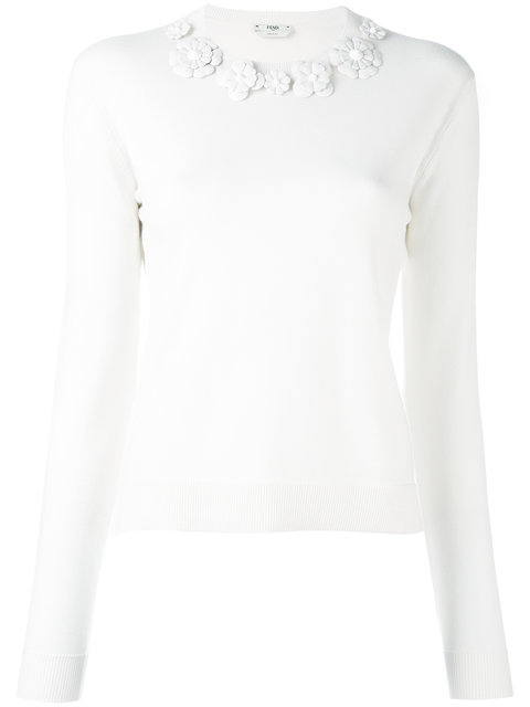 Fendi Wools FLORAL EMBROIDERED SWEATER