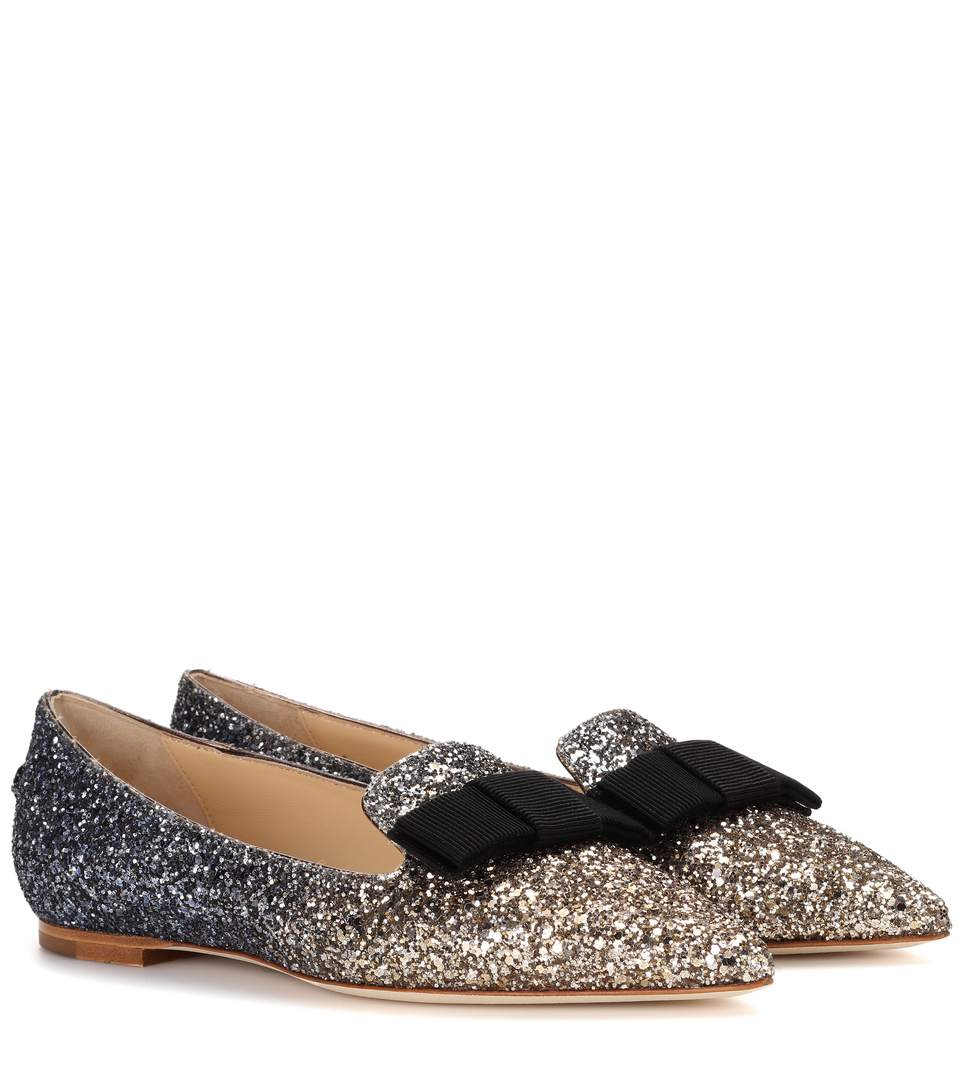 GALA Gunmetal Mix Star Coarse Glitter Fabric Pointy Toe Flats with Bow Detail