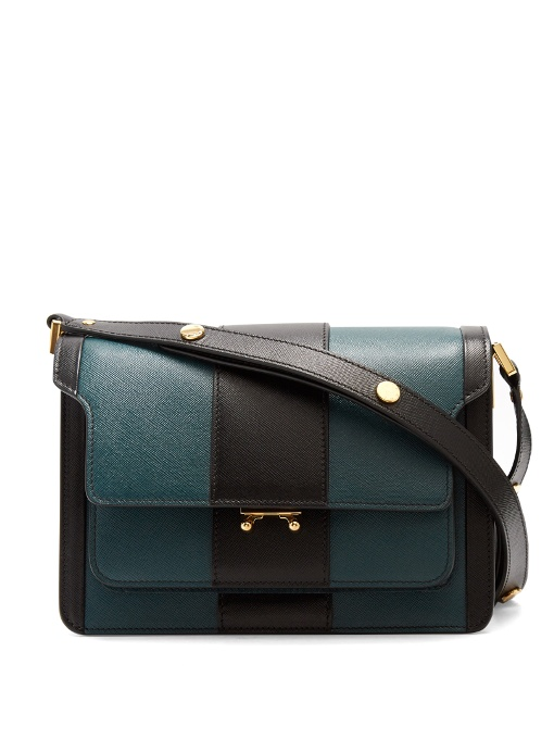 Marni Canvases Trunk striped medium saffiano-leather shoulder bag