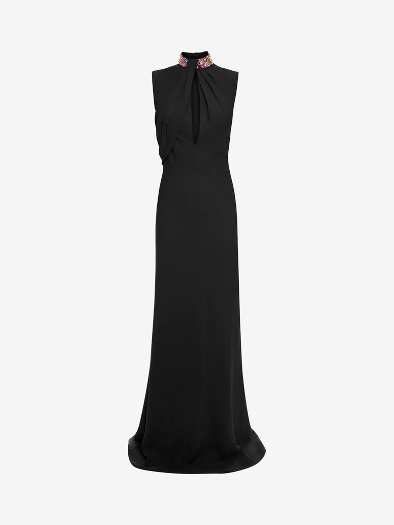 Alexander Mcqueen Clothing EMBROIDERED HALTER NECK EVENING DRESS