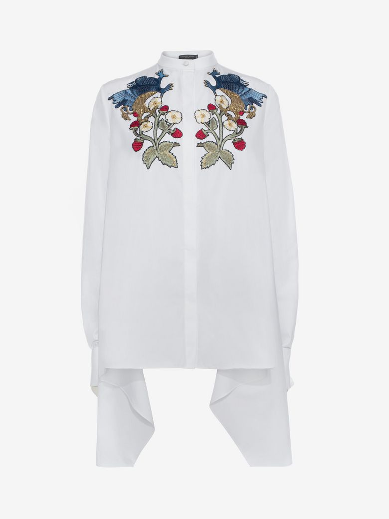 Alexander Mcqueen Cottons DRAPE EMBROIDERED SHIRT