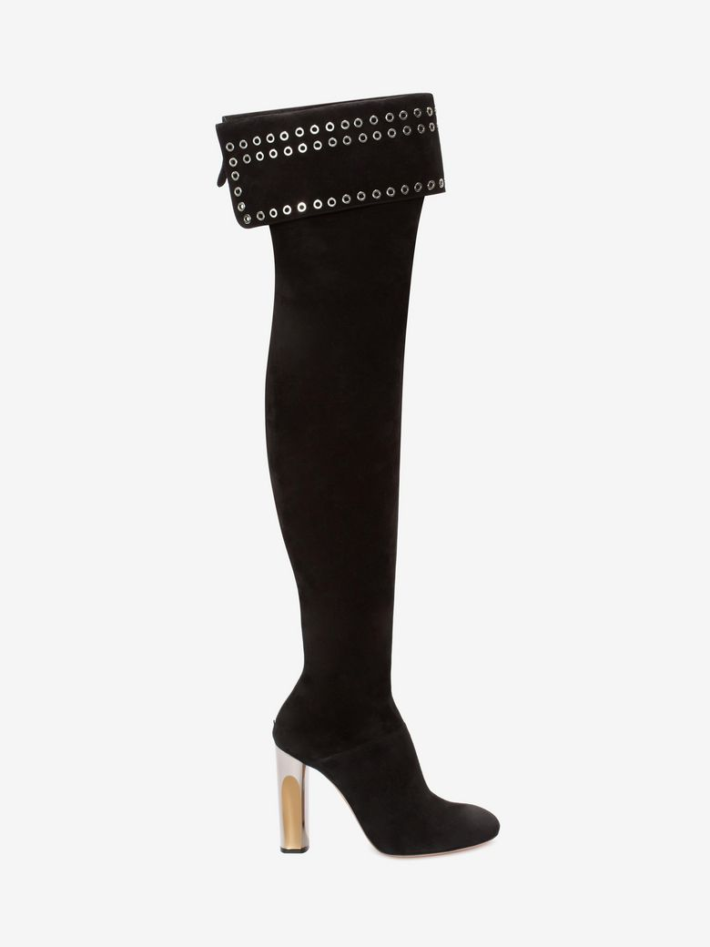 Alexander Mcqueen Suedes BI-COLOR SCULPTED HEEL EYELET OVER-THE-KNEE BOOT