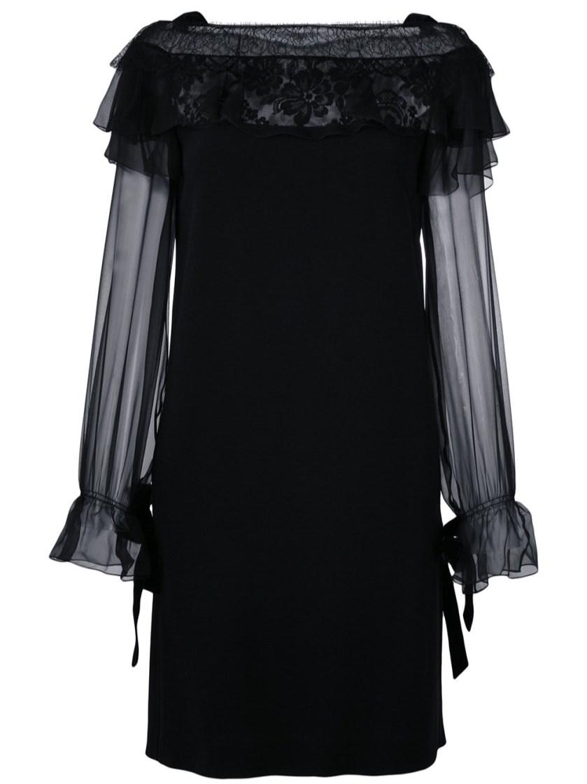 Alberta Ferretti Silks GUIPURE LACE TRIM DRESS
