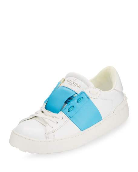 Valentino Leathers STRIPED LEATHER LACE-UP SNEAKER