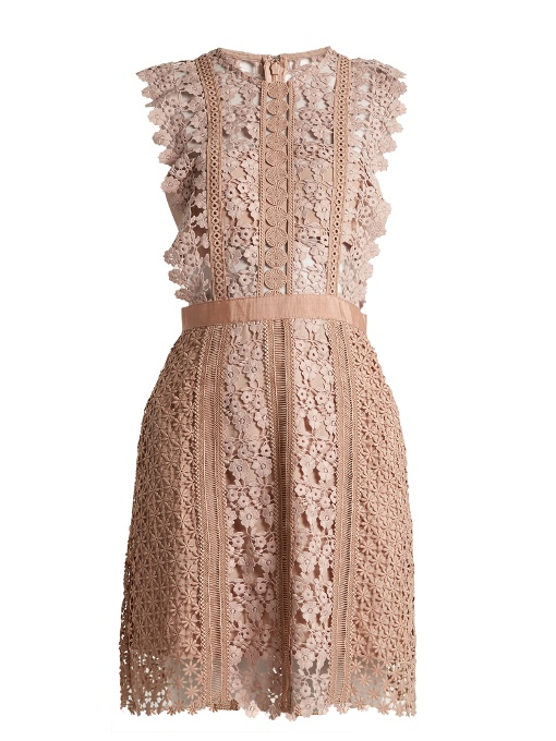 Self-Portrait Linings Daisy-vine lace mini dress