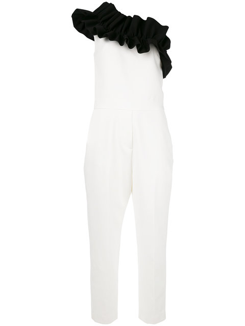 Msgm Linings ruffled single shoulder jumpsuit