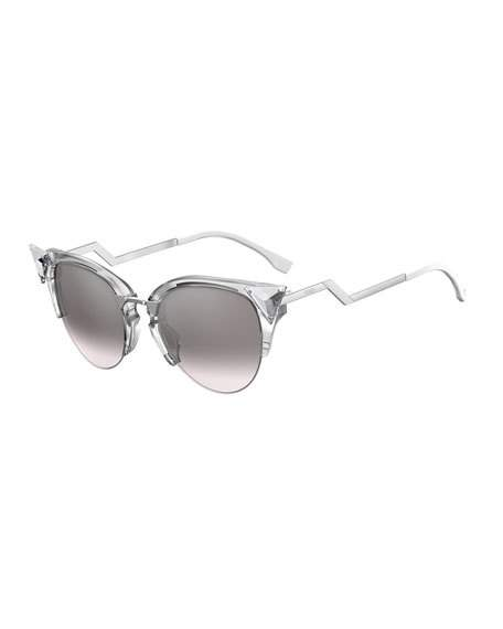 CRYSTAL 52MM TIPPED CAT EYE SUNGLASSES - CRYSTAL/ PALLADIUM