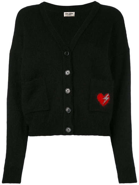Saint Laurent Wools heart embroidered patch cardigan