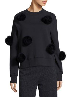 Tibi Furs Pom-Pom Sweater