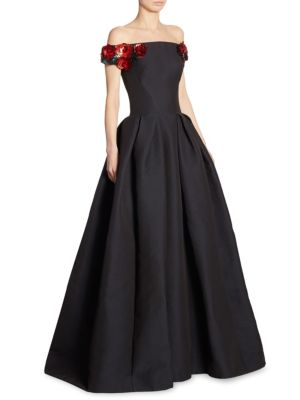 Zac Posen Gowns Off-The-Shoulder Floral Gown