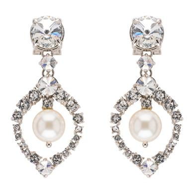 EARRINGS WITH PEARL AND CRYSTALS