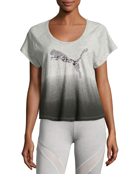Puma Cottons SUMMER PERFORMANCE OMBRE TOP, LIGHT GRAY