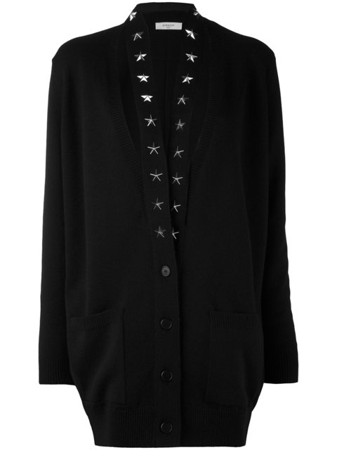 Givenchy Cashmeres GIVENCHY CASHMERE STAR TRIM CARDIGAN - BLACK