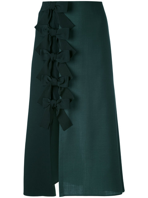 Fendi Silks bow side split midi skirt