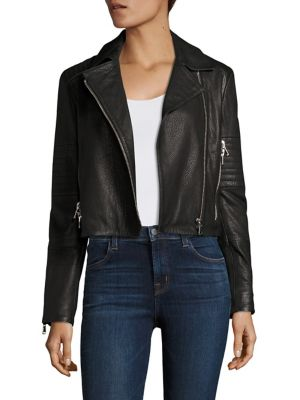J Brand Leathers Aiah Cropped Leather Moto Jacket
