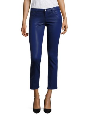 J Brand Cottons Alana High-Rise Coated Cropped Skinny Jeans/Coated Celeste