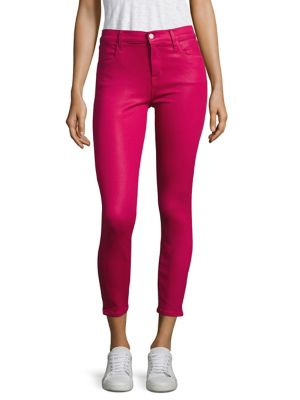 J Brand Denims Alana Coated High-Rise Cropped Skinny Jeans/Dizzy Pink