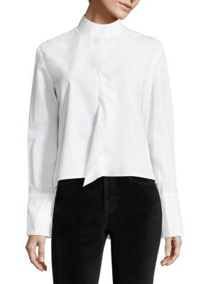 Frame Cottons Cravat Poplin Cotton Long Sleeve Blouse