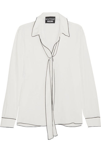 Boutique Moschino Silks PUSSY-BOW CREPE DE CHINE BLOUSE