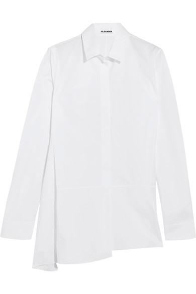 Jil Sander Cottons OVERSIZED ASYMMETRIC COTTON-POPLIN SHIRT