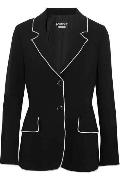 BOUTIQUE MOSCHINO Contrast-Tipped Crepe Blazer, Black