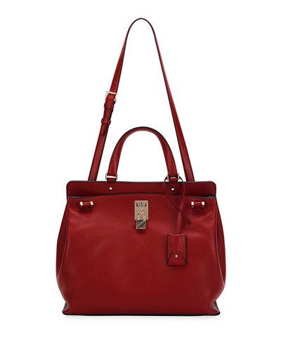 valentino joy lock medium leather satchel bag ivory modesens. Black Bedroom Furniture Sets. Home Design Ideas