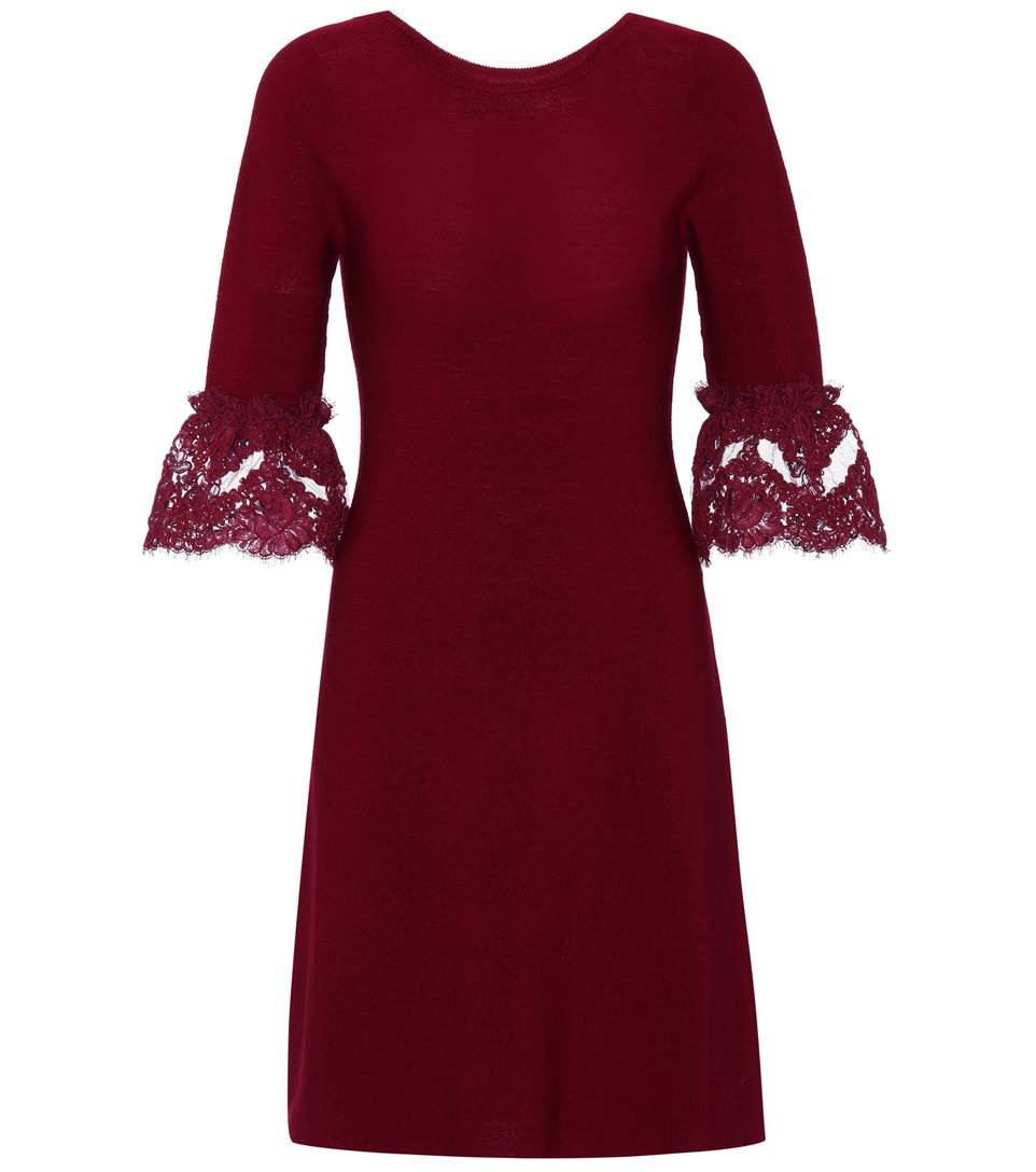 Oscar De La Renta Wools WOOL LACE-TRIMMED DRESS