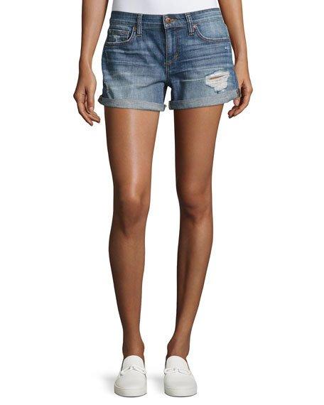 Joe's Jeans Denims ROLLED-CUFF DISTRESSED DENIM SHORTS