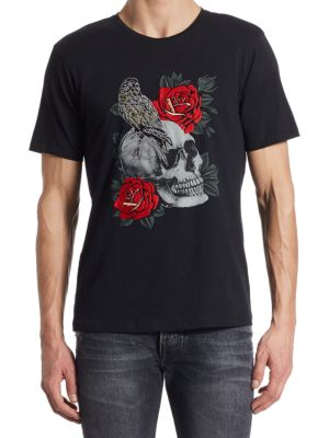 The Kooples Cottons Skull and Embroidered Rose T-Shirt