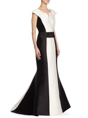 Carolina Herrera Silks Cap Sleeve Flared Gown