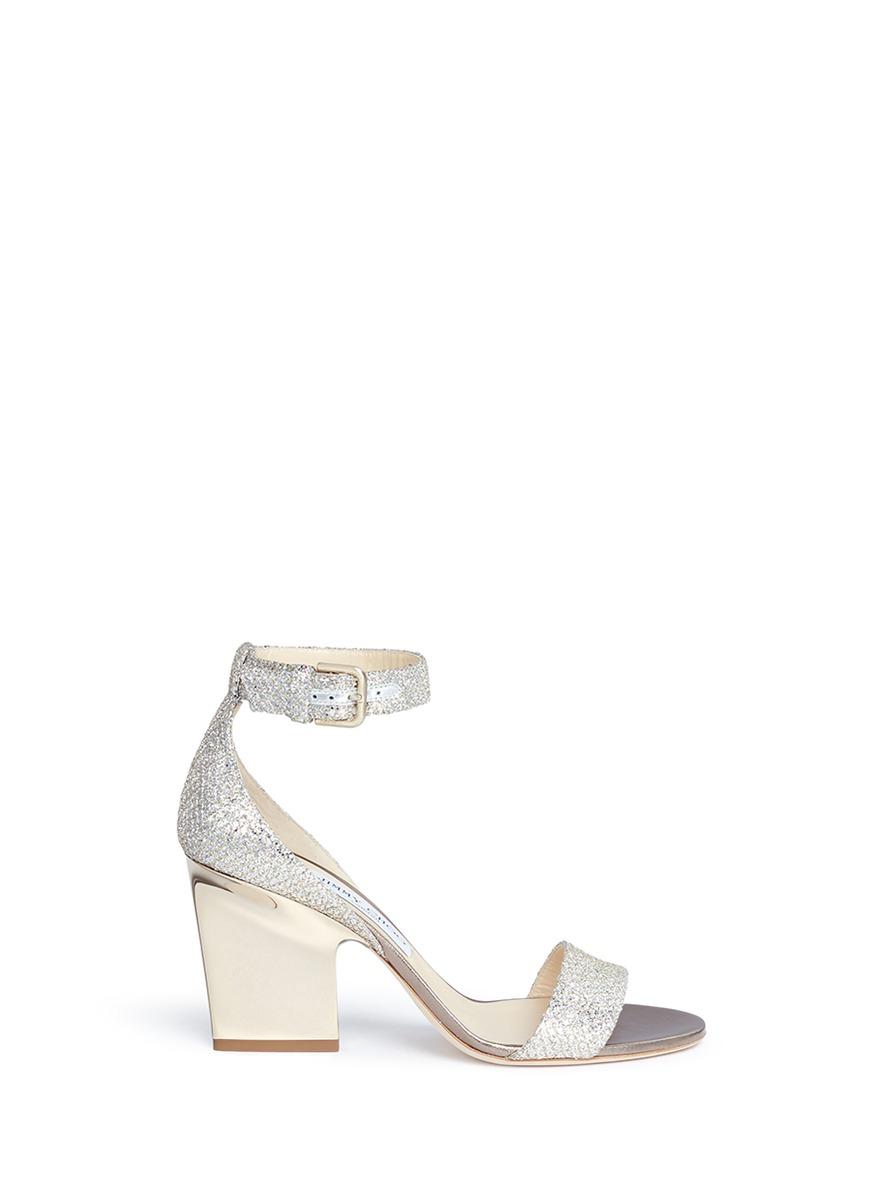 Jimmy Choo Glitters 'Edina 85' sculpted heel glitter sandals