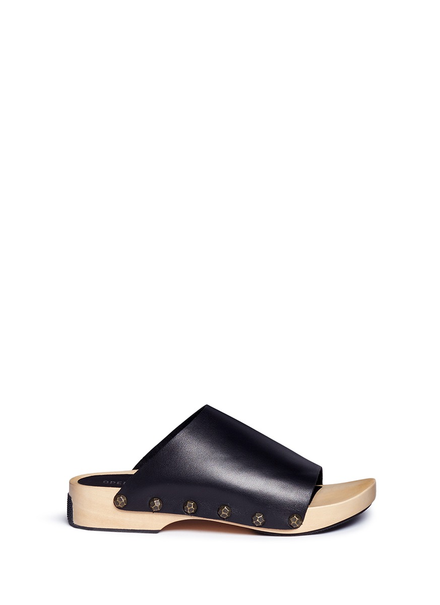 Opening Ceremony Leathers 'Nykola' wooden platform leather clogs