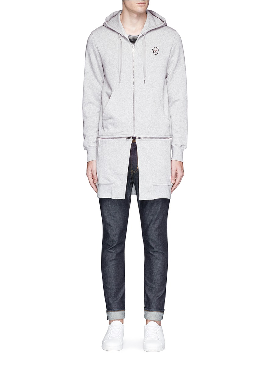 Alexander Mcqueen Cottons Skull patch extended hem zip hoodie