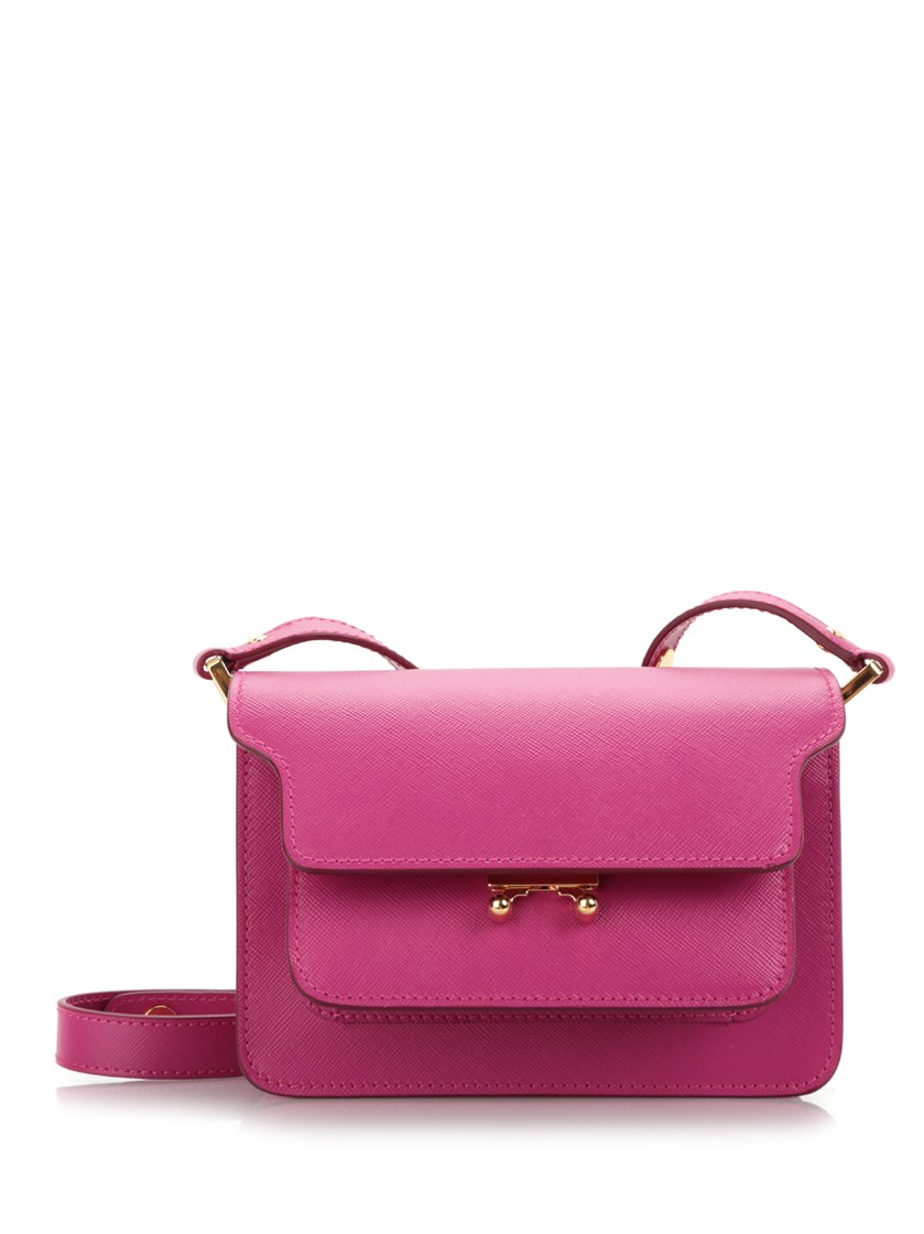 Marni Leathers Mini 'Trunk' pink saffiano bag