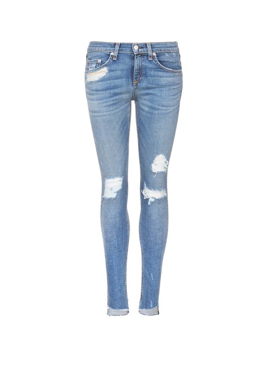 Rag & Bone Denims 'Skinny' staggered hem jeans