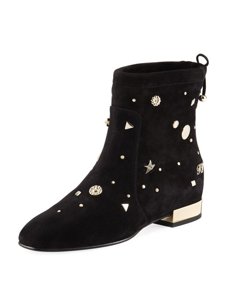 ROGER VIVIER New Polly Astre Stud Ankle Boots In Suede in Black