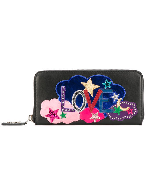 Love embroidered wallet