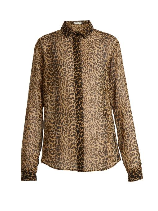 Saint Laurent Silks Leopard-print silk shirt