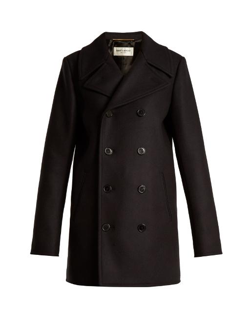 Saint Laurent Wools DOUBLE-BREASTED WOOL PEA COAT
