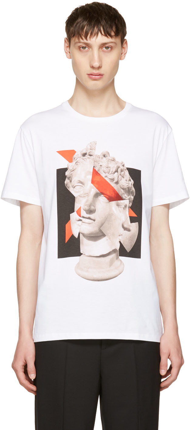 Neil Barrett Cottons White Geometric Sculpture T-Shirt