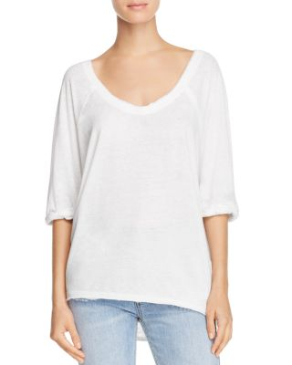 Free People Cottons MOONLIGHT SCOOP NECK TEE