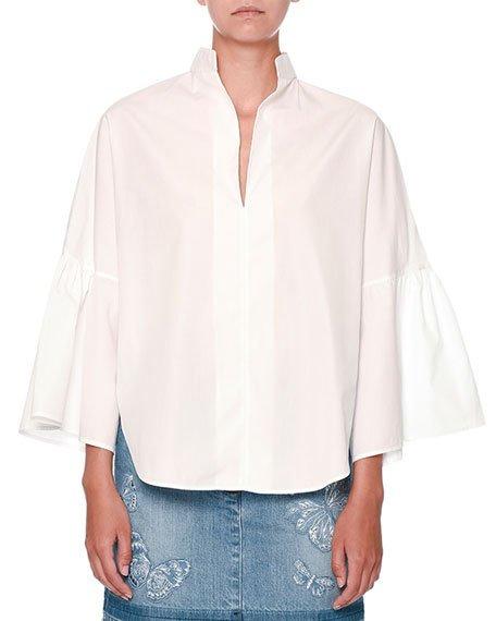 Valentino Cottons FULL-SLEEVE CUTAWAY-HEM POPLIN BLOUSE, WHITE