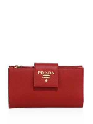 Prada Saffiano Leather Tab Wallet, Na