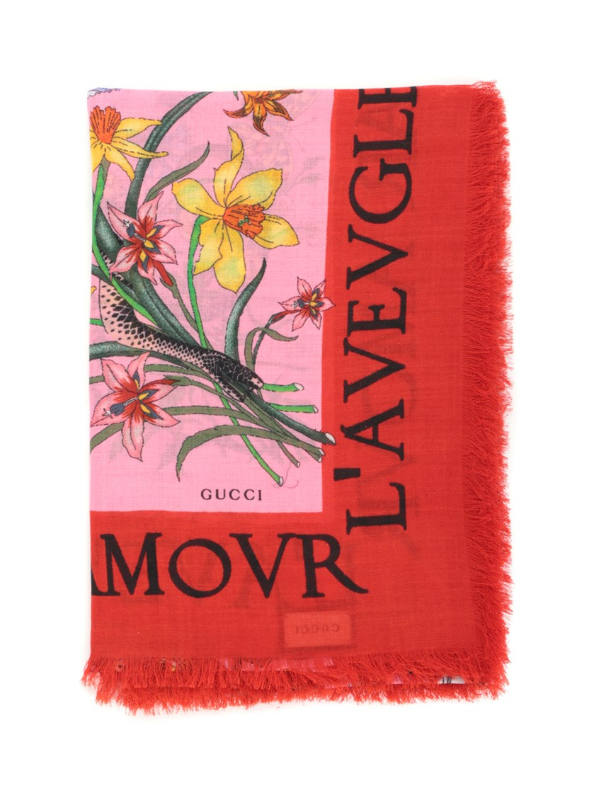 FLORA PRINT WOOL AND SILK SCARF