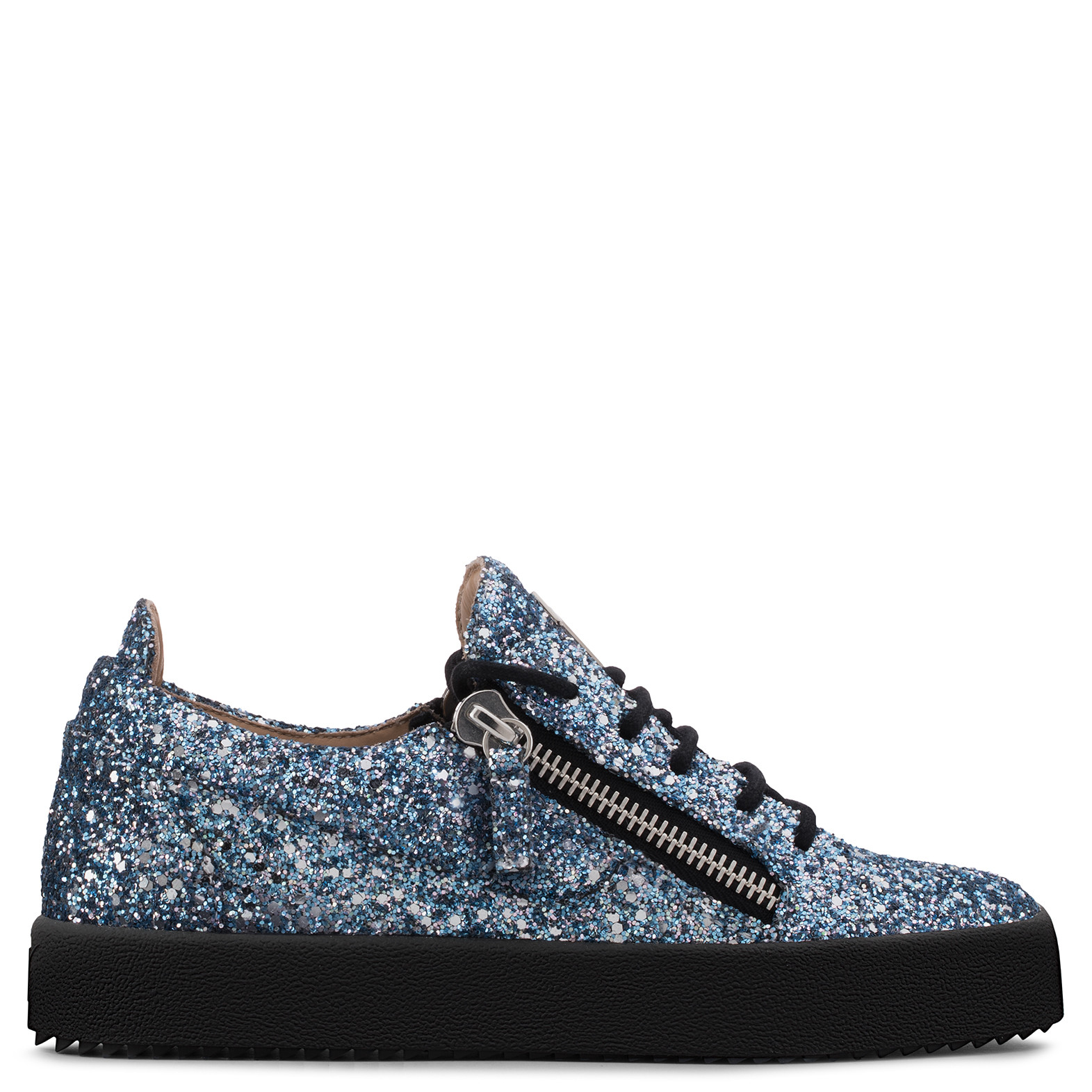 - BLUE FABRIC AND LEATHER SNEAKER WITH GLITTER GAIL GLITTER