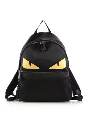 Fendi Black Nylon And Yellow Leather Monster Face Backpack